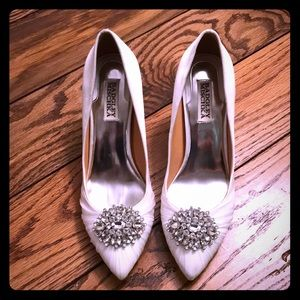 White bejeweled Badgley Mischka heels